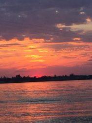 sunset, lake, clouds