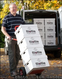 Filofile boxes on trolley