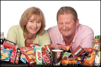 Sarah and Martin Killian of Hilton Vending with snacks