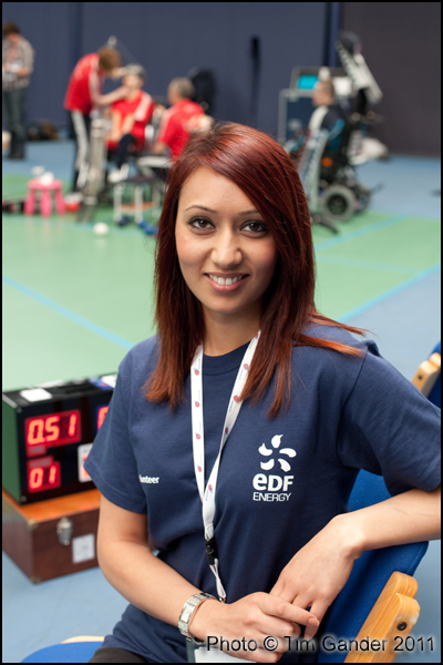 EDF staff member volunteering at ParalympicGB team training, Bath