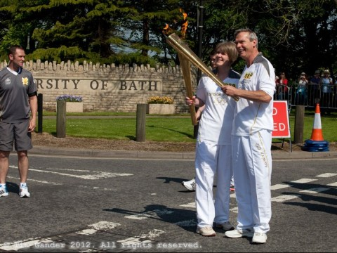 Olympic torch relay handover at University of Bath