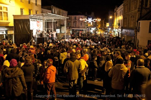 Christmas light switch-on, Frome, Somerset