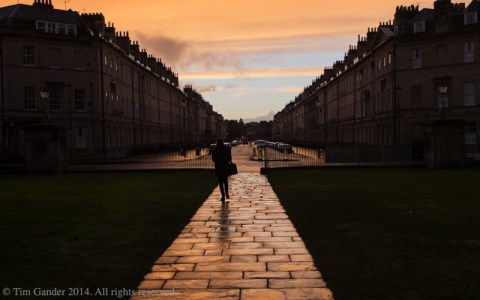 The view from the entrance of The Holburn Museum in Bath looking down Great Pulteney Street at sunset.
