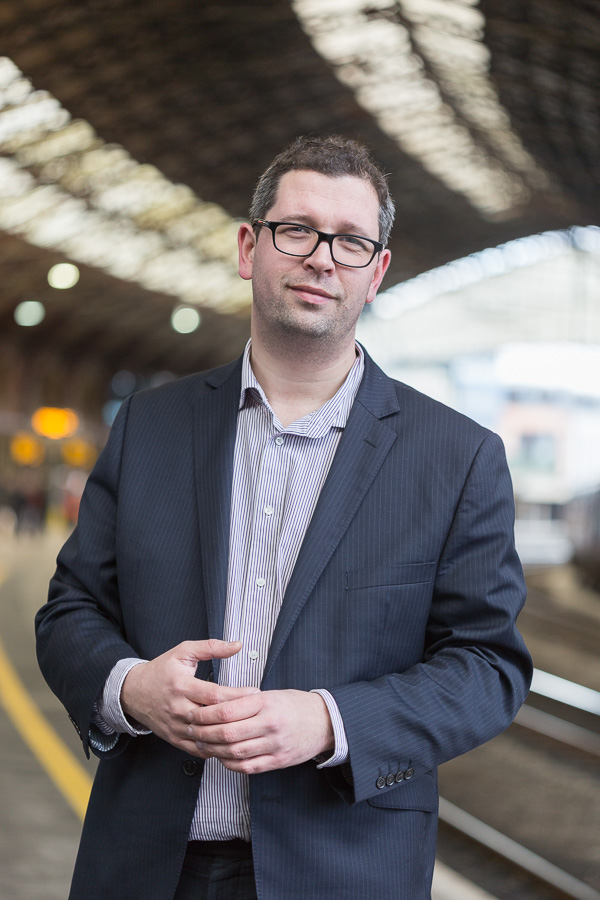 Profile photo of Dan Panes of First Great Western at Bristol Temple Meads station for Communicate Magazine.
