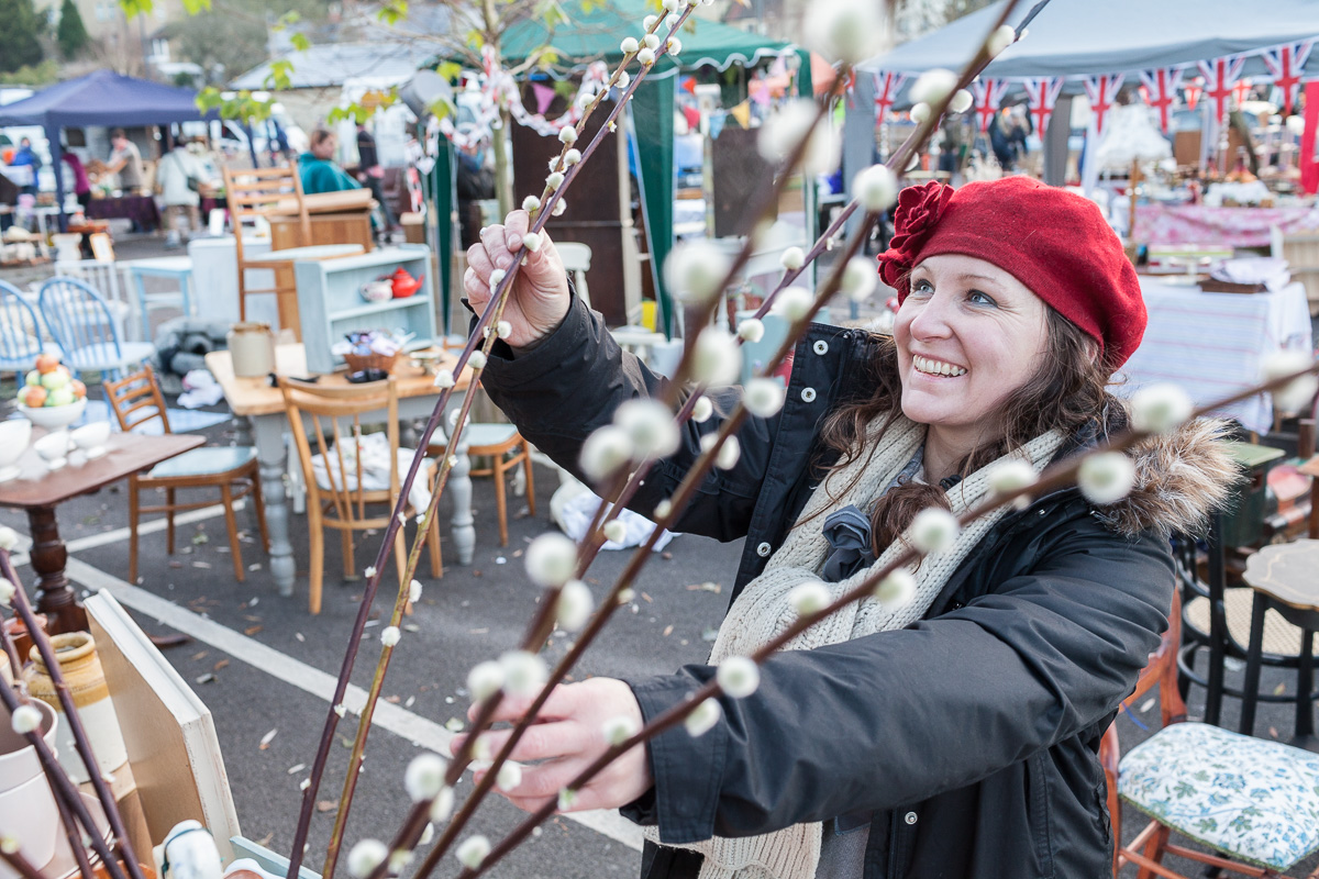 A trader prepares for the Frome Independent Christmas Market.