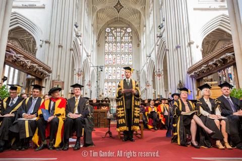 Bath Abbey during University of Bath graduation ceremonies.