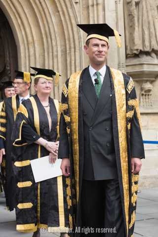 HRH Prince Edward, Chancellor of University of Bath, exits Bath Abbey after a degree ceremony.