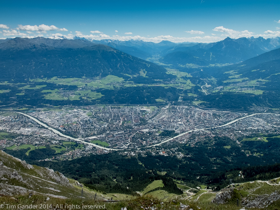 View from the Nordkettespitze looking over Innsbruck