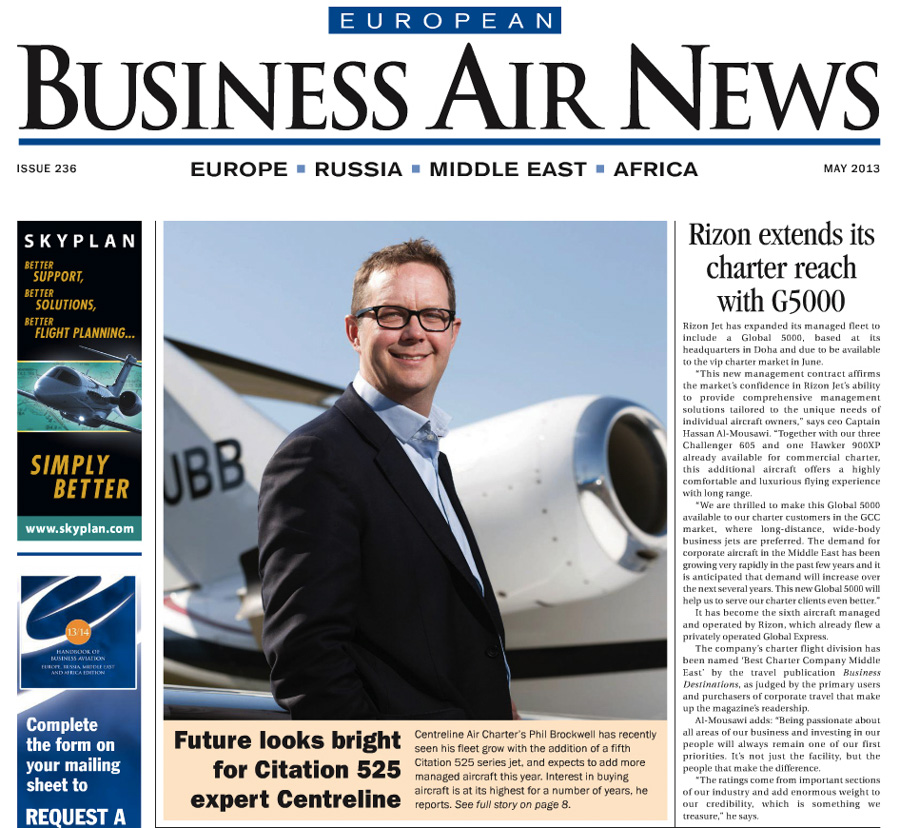 European Business Air News front page story on Centreline Air Charter at Bristol Airport, featuring CEO Phil Brockwell.