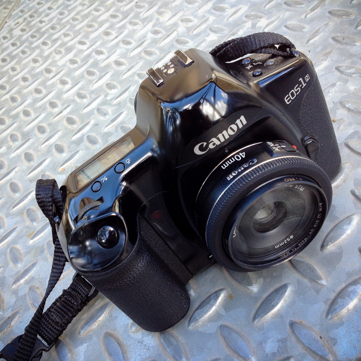 My Canon EOS 1N with EF 40mm f/2.8 pancake lens.