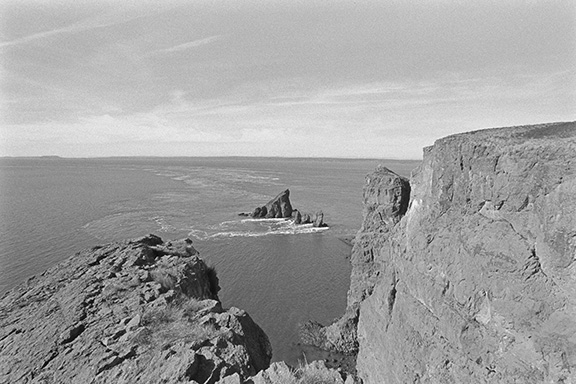 Black and white view of Cape Split, Nova Scotia, Canada looking over the Bay of Fundy.