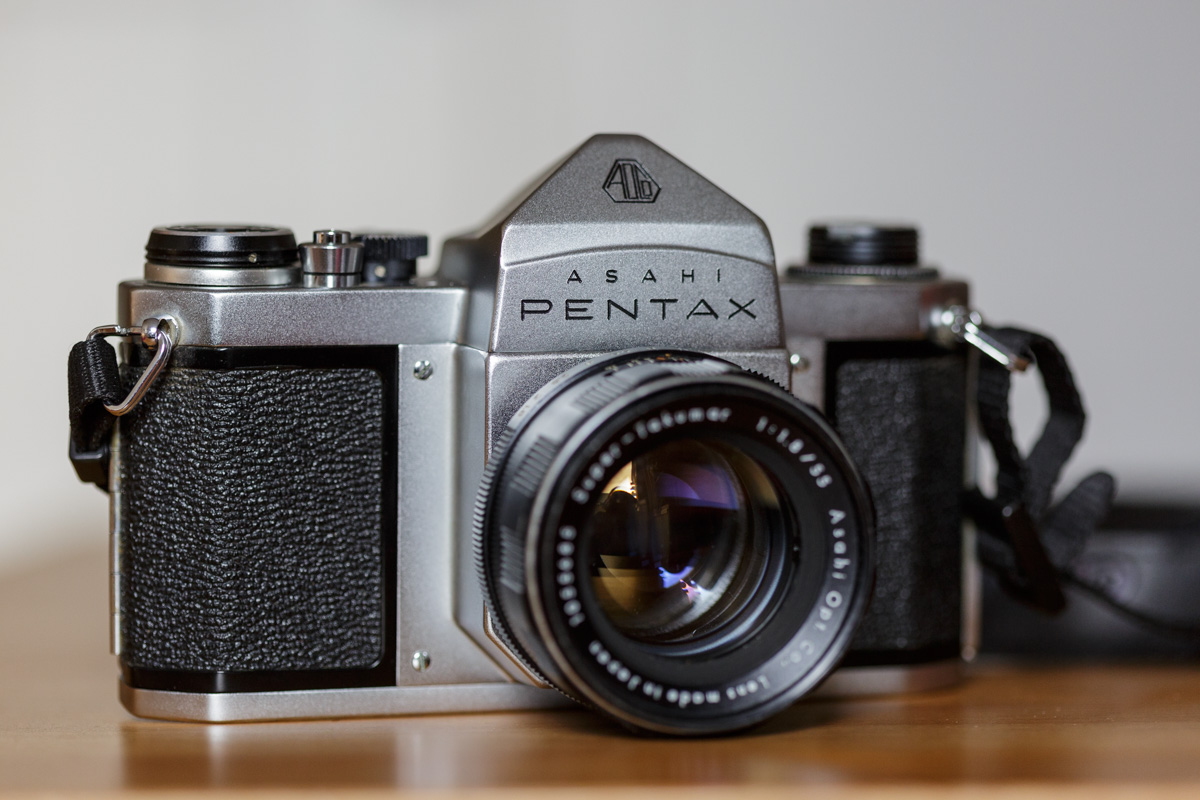 Pentax S1a 35mm camera with Super-Takumar 55mm f/1.8 lens attached.