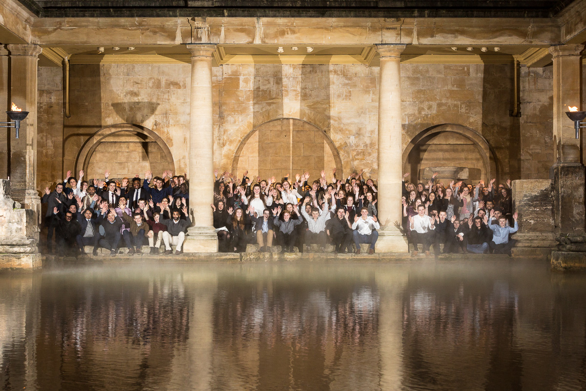 09/02/2017 Scholars Reception, Roman Baths. University of Bath scholars gather for an evening reception held at the Roman Baths in Bath to network, be introduced to their sponsors, hear speeches from alumni and gather for a mass group photo by the Great Bath.