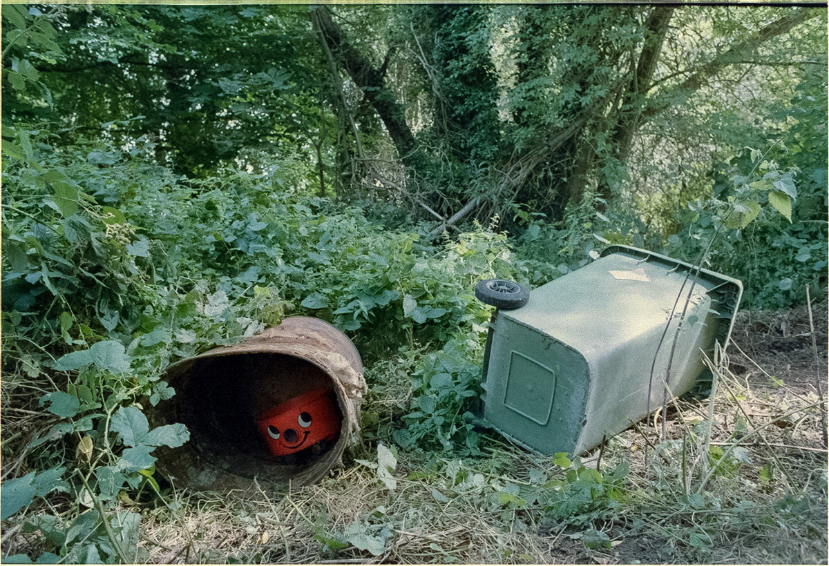 To the left of the photo, from inside a rusty metal barrel which is lying on its side, a Henry vacuum cleaner peers out, smiling. To the right a green wheelie bin lies on its side. The scene is of brambles and weeds with trees behind.