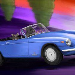 Cruisin', Ferrari GTS 365, blue: Limited Edition canvas print