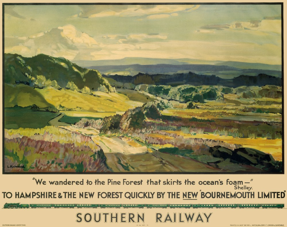 "'To Hampshire and the New Forest Quickly by the New ""Bournemouth Limited""'. Poster produced for Southern Railway (SR) promoting train services to Hampshire and the New Forest. The poster shows a panoramic view of the countryside with a quote by Percy Bysshe Shelley (1792-1822). Artwork by Leonard Richmond, who studied at the Taunton School of Art and Chelsea Polytechnic and exhibited widely both in London and abroad. He painted landscapes and figures and designed posters for the Great Western Railway (GWR) and Southern Railway (SR). Dimensions: 1016 mm x 1270 mm."