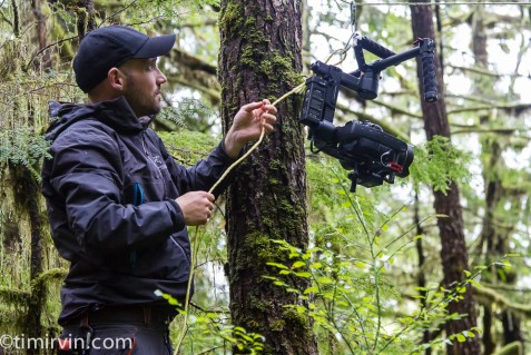 Damien Briguet experimenting with a gimbal-mounteed SLR on a zip line.