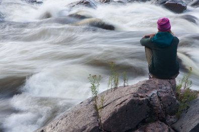 River watcher and goldenrod by the Coulonge River, Quebec