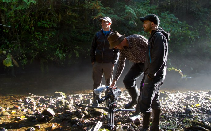 Tim Irvin, Francois-Xavier De Ruydts and Damien Briguet with a video camera in the Great Bear Rainforest