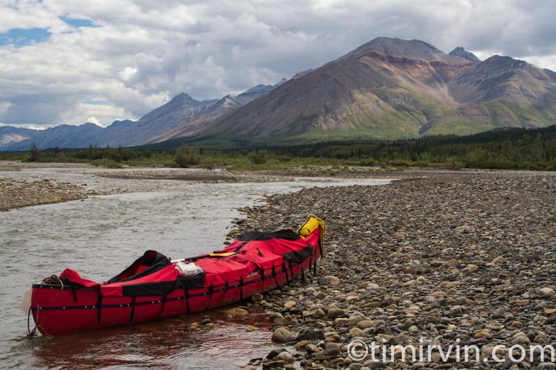 canoe equiped with spray deck, snake river, Yukon