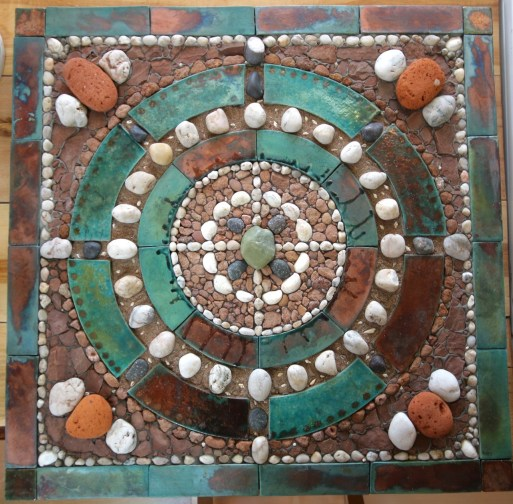 'Mysteries of Green Rock' - 30.5 x 30.5 inches (77 x 77 cm). Raku fired clay, seashells, natural and polished stone, ocean tumbled brick.
