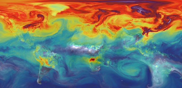 Still from NASA video highlighting global carbon dioxide emissions. In 2012, Canada ranked 11th in CO2 emissions per capita -- nothing to be proud of.