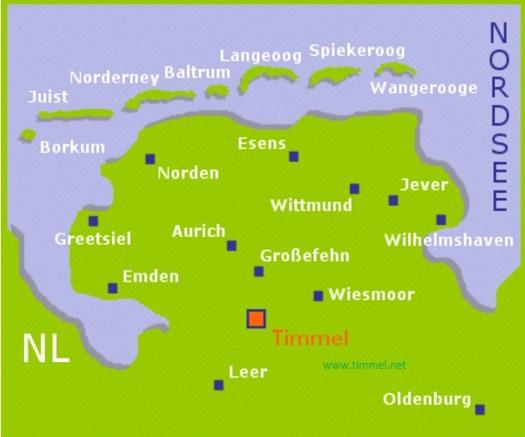 Karte Timmel in Ostfriesland