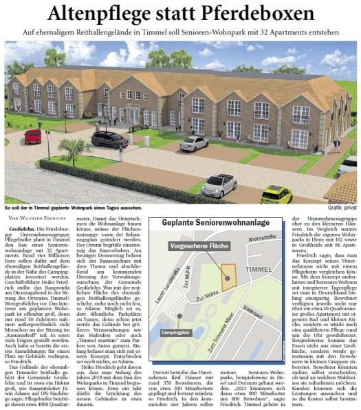 Seniorenwohnpark in Timmel geplant