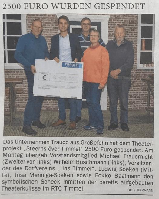 """TRAUCO aus Großefehn unterstützt das Theaterstück """"Steerns över Timmel"""". (Quelle: Ostfriesen-Zeitung vom 30.10.2018)"""