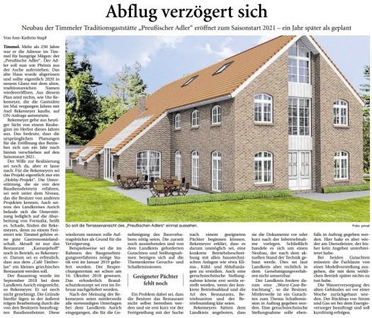Zeitungsbericht zum Restaurant Preussischer Adler