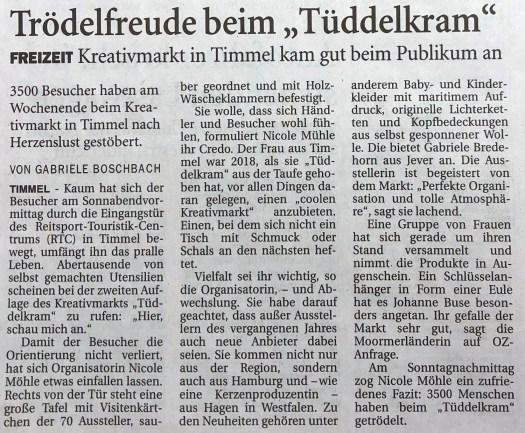 Zeitungsbericht: 3500 Besucher bei Tüddelkram
