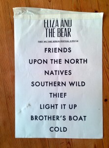 Setliste von Eliza And The Bear