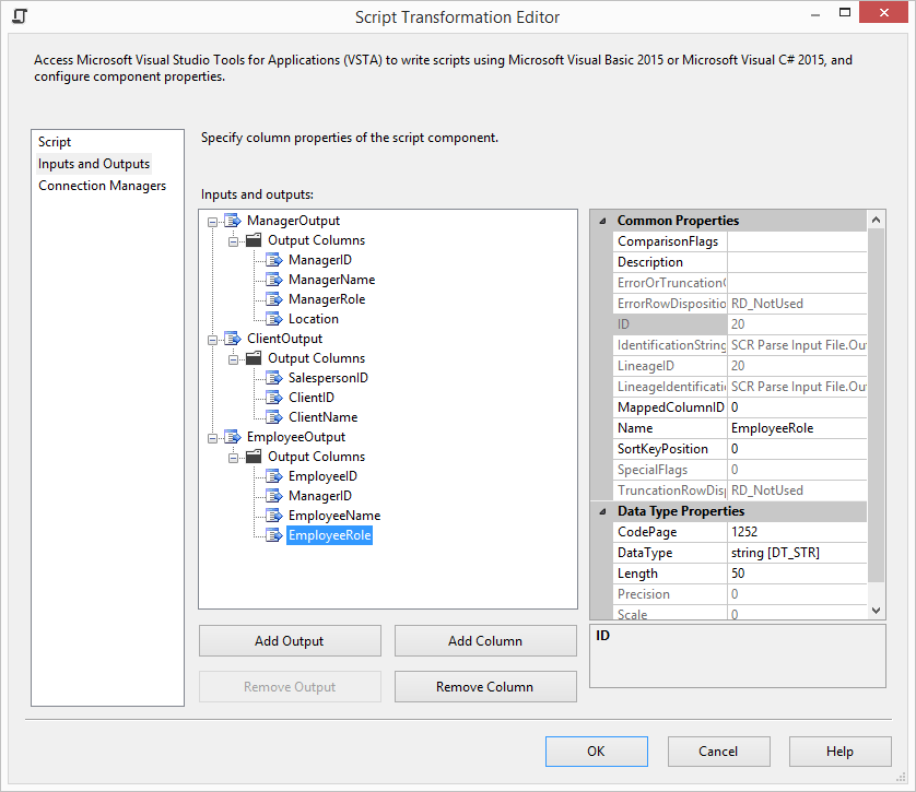 Using the SSIS Script Component With Multiple Outputs - Tim