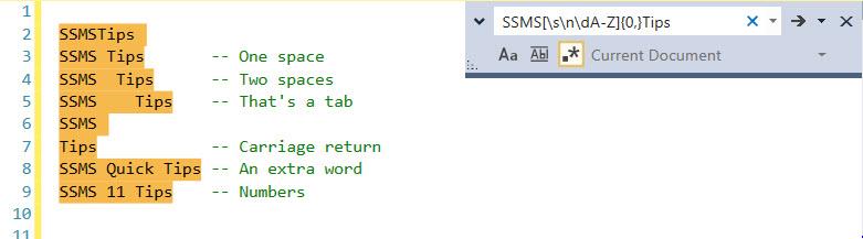 Regular Expressions in SSMS