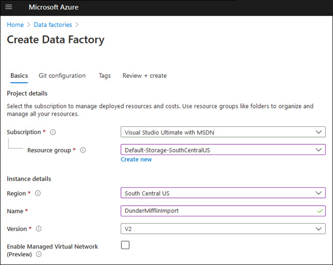 Creating your first Azure data factory