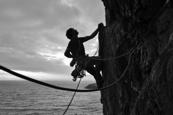 Dave hanging out on the famous Positron spike before launching up into the crux of Eraserhead