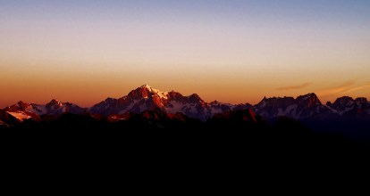 Sunrise view to Mt Blanc range from Gran Paradiso