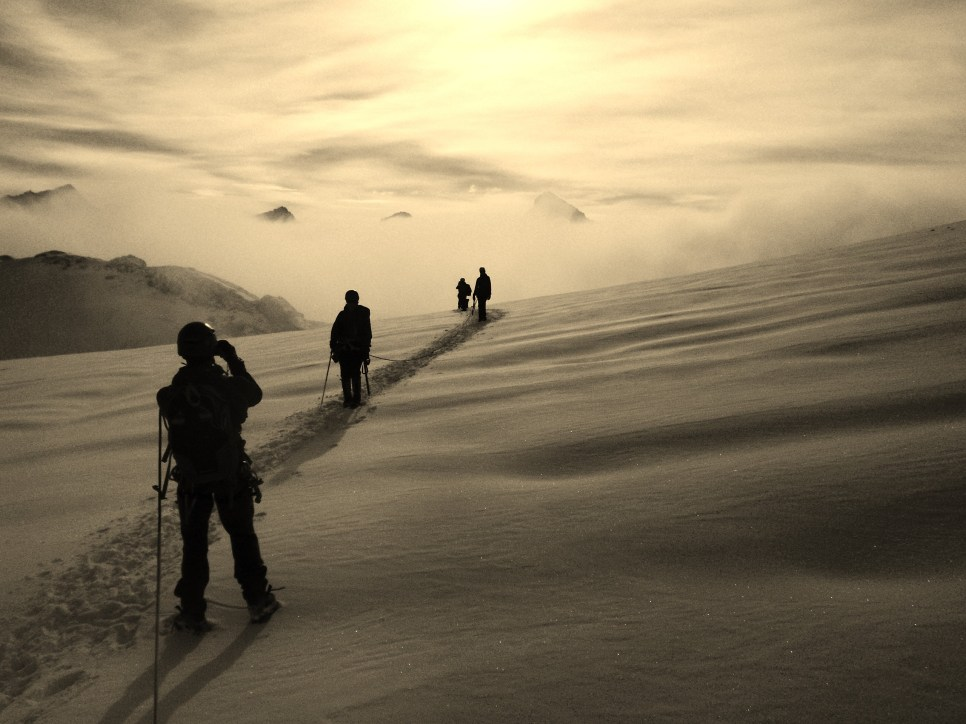 Everyone mesmerised by the view whilst tramping thru fresh snow on the PDV