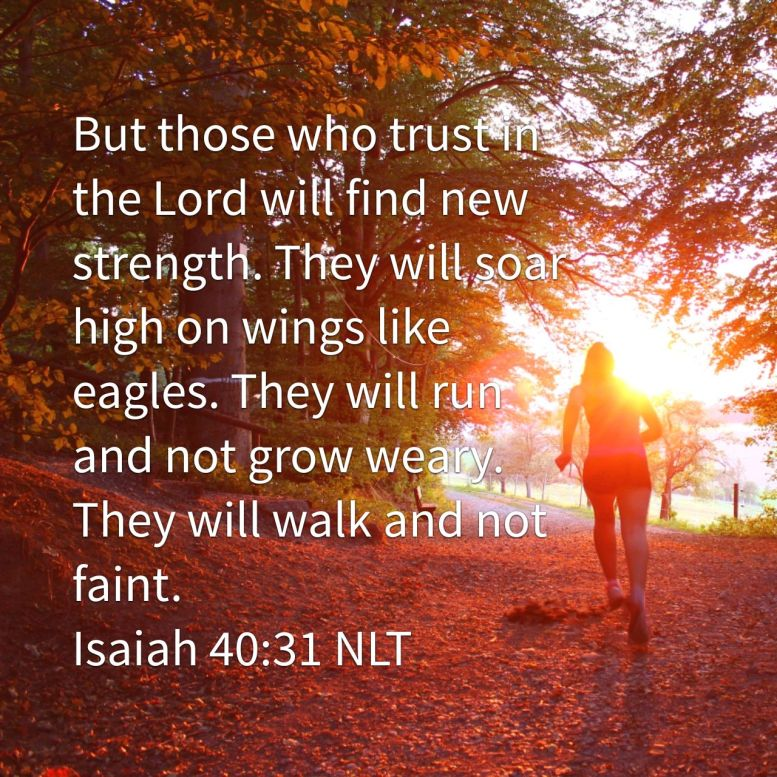 But those who trust in the Lord will find new strength. They will soar high on wings like eagles. They will run and not grow weary. They will walk and not faint. - Isaiah 40:31 NLT