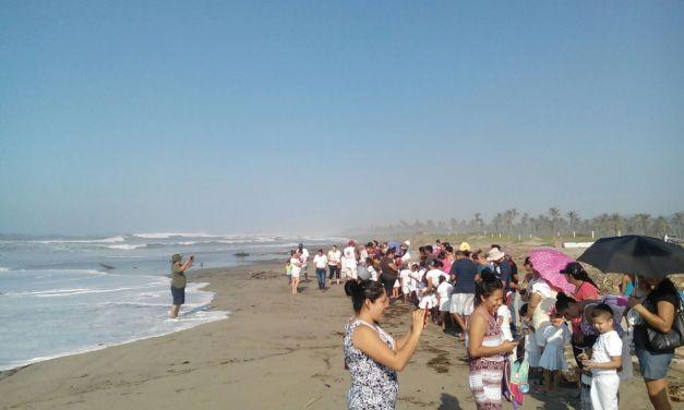 Liberar tortugas en el campamento El Habillal, toda una experiencia niños y jóvenes