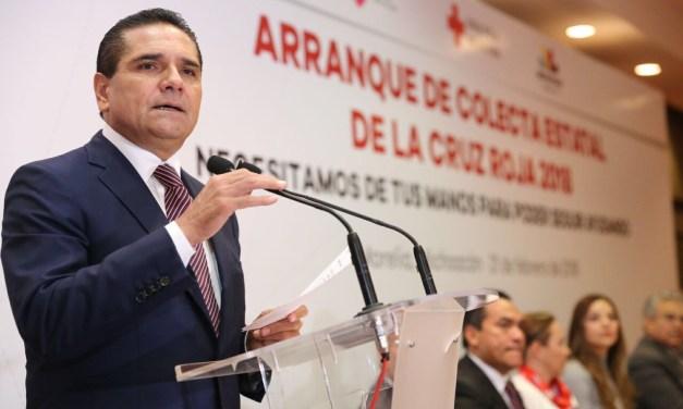 Se pronuncia Gobernador por fortalecimiento de la Cruz Roja en Michoacán
