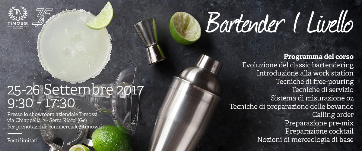 25/26 Set 2017 – Corso Bartender I livello