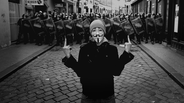 anonymous police fuck off grayscale middle finger photomanipulations 1366x768 wallpaper_wallpaperswa.com_67