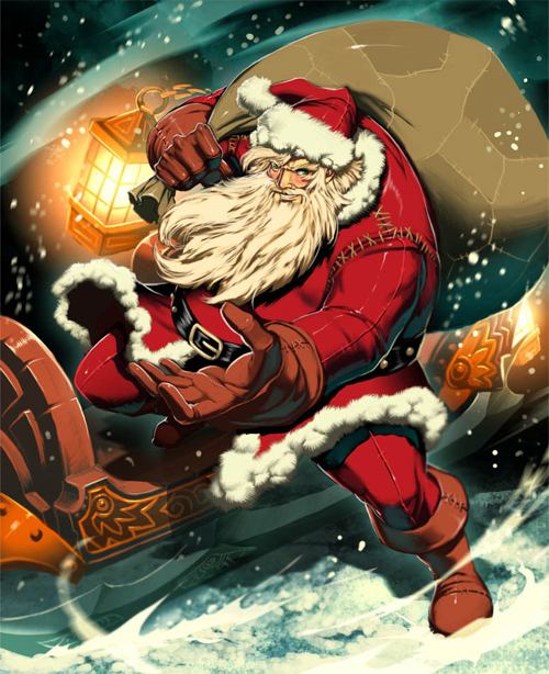 Cool Santa Claus at Christmas with sleigh and bag of presents