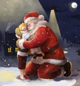 Santa hugging little boy at Christmas at night.