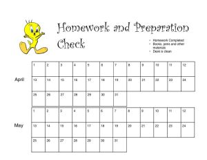 Homework Stamp Sheet