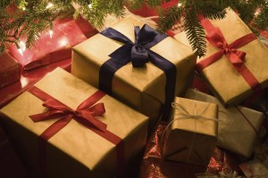Wrapped Christmas gifts and presents under the tree.