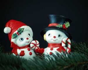 Adorable and cute snowman couple at Christmas