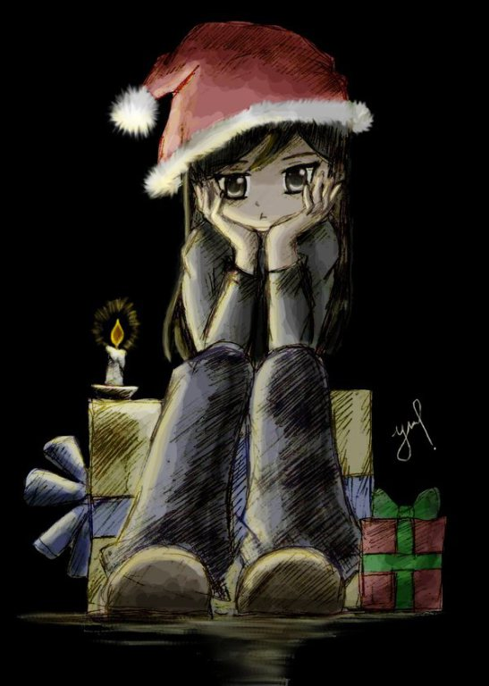 Lonely girl at Christmas art illustration from DeviantArt