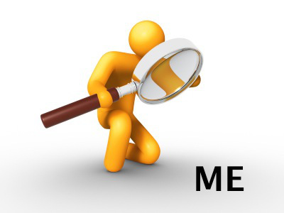 Self examination focus on me with magnifying glass